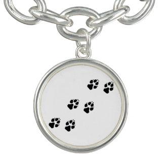 Paw prints of a dog charm bracelets