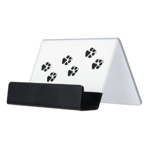Paw Prints Of A Dog Desk Business Card Holder