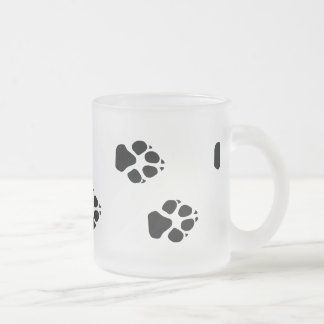Paw prints of a dog frosted glass coffee mug