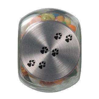 Paw prints of a dog glass jars