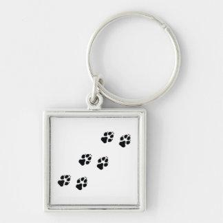 Paw prints of a dog keychain