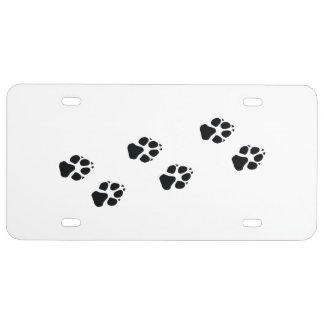Paw prints of a dog license plate