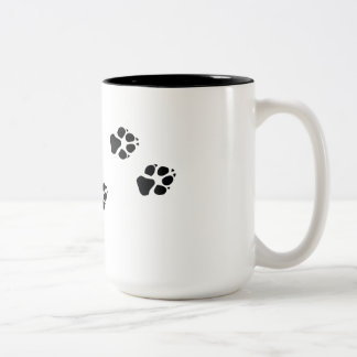 Paw prints of a dog Two-Tone coffee mug