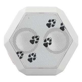 Paw prints of a dog white bluetooth speaker