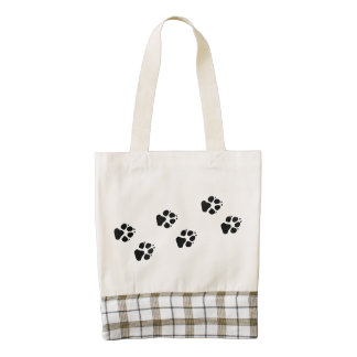 Paw prints of a dog zazzle HEART tote bag