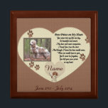 "Paw Prints on My Heart - Dog Memorial Gift Box<br><div class=""desc"">In Loving Memory of your beloved dog. A beautiful keepsake box to store tags or other small items in memory of your passing furry friend. If you need help feel free to contact me at patcald@shaw.ca and I&#39;ll gladly help you out! Click on &quot;customize it&quot; to change the font style...</div>"