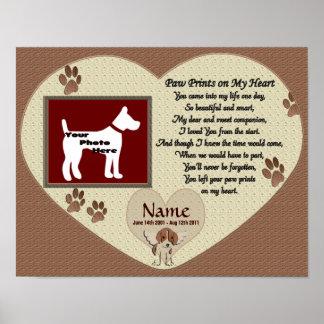 Paw Prints on My Heart - Dog Memorial Print