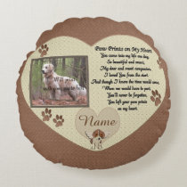 Paw Prints on My Heart - Dog Memorial Round Pillow