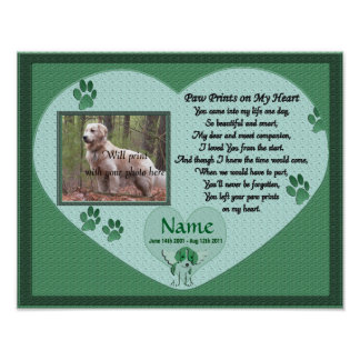 Paw Prints on My Heart - Green Dog Memorial