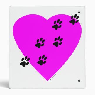 Paw Prints on my Heart - Pink 3 Ring Binders