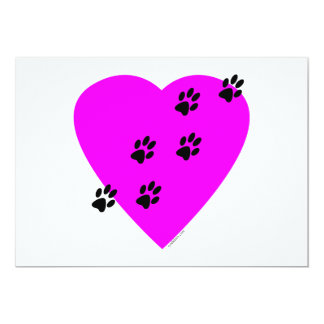 Paw Prints on my Heart - Pink Card