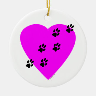 Paw Prints on my Heart - Pink Christmas Ornament