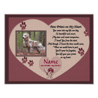 Paw Prints on My Heart - Pink Dog Memorial