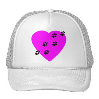 Paw Prints on my Heart - Pink Hat