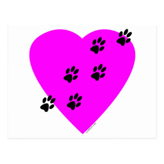 Paw Prints on my Heart - Pink Postcard