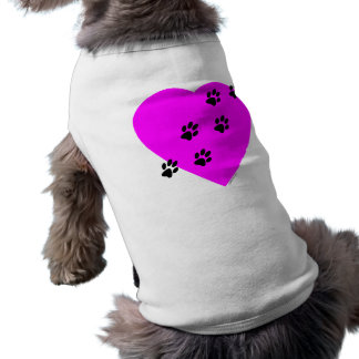 Paw Prints on my Heart - Pink T-Shirt