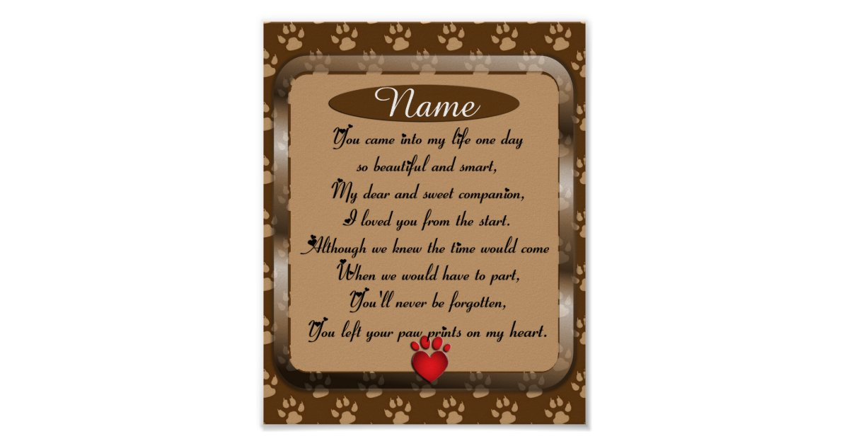 Paw Prints on My Heart Poem Pet Memorial   Zazzle