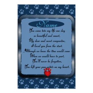 Paw Prints on My Heart Poem Pet Memorial