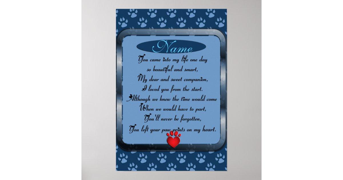 Paw Prints on My Heart Poem Pet Memorial   Zazzle.com