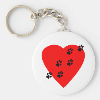 Paw Prints on my Heart - Red Basic Round Button Keychain