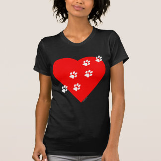 Paw Prints on my Heart - Red Tee Shirt