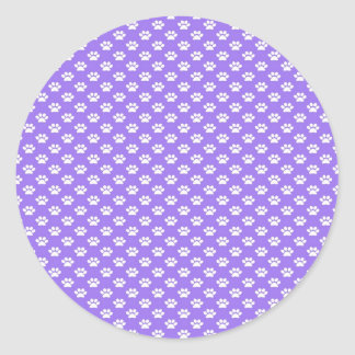 Paw Prints on Purple Classic Round Sticker