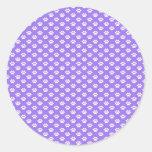 Paw Prints on Purple Round Sticker