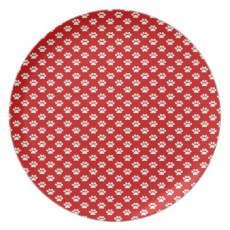 Paw Prints on Red Melamine Plate