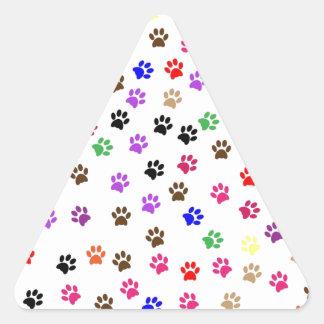 Paw Prints Pattern Design Triangle Sticker