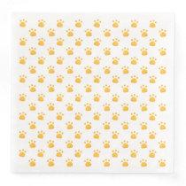 Paw Prints Pattern | Yellow-Orange Paper Dinner Napkin