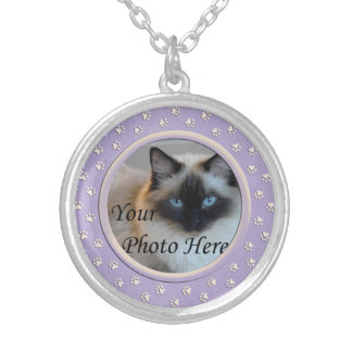 Paw Prints Personalized Dog or Cat Memorial Silver Plated Necklace