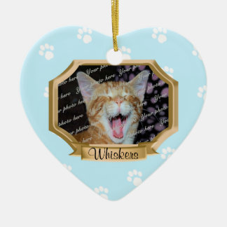 Paw Prints Pet Photo Frame Blue Double-Sided Heart Ceramic Christmas Ornament
