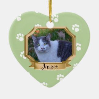 Paw Prints Pet Photo Frame Green Christmas Tree Ornaments