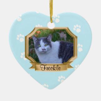 Paw Prints Pet Photo Frame Light Blue Double-Sided Heart Ceramic Christmas Ornament