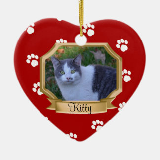 Paw Prints Pet Photo Frame Red Ornaments