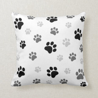 Paw prints pillow black and white