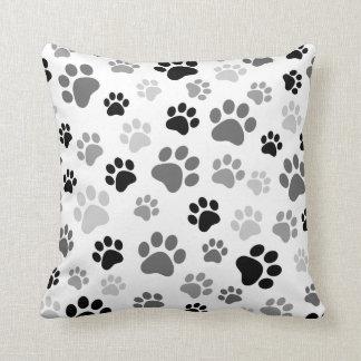 Paw prints pillow black and white