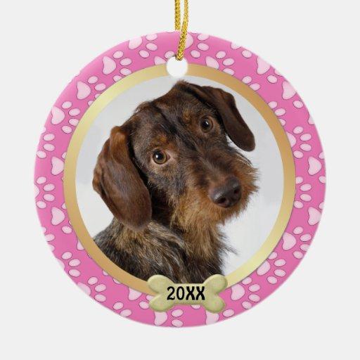 Paw Prints Pink Pet Photo Ornament