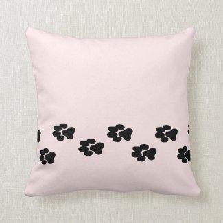 Paw Prints Pink Throw Pillow
