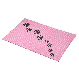 Paw Prints Placemat (pink polkadots) Cloth Place Mat