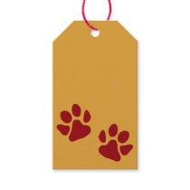 Paw Prints Red Gift Tags