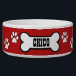 "Paw Prints Red Personalized Pet Bowl<br><div class=""desc"">Super cute,  personalized red and white doggy bowl.</div>"