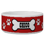 Paw Prints Red Personalized Pet Bowl<br><div class='desc'>Super cute,  personalized red and white doggy bowl.</div>