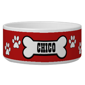 Paw Prints Red Personalized Pet Bowl