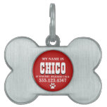 Paw Prints Red Personalized Pet Name Tag