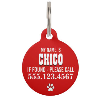 Paw Prints Red Personalized Pet Tag