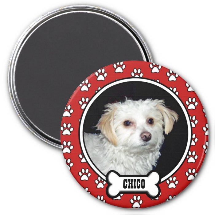 Paw Prints Red Pet Photo Magnet