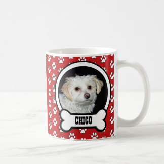 Paw Prints Red Pet Photo Mug