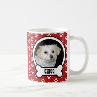 Paw Prints Red Pet Photo Mug Basic White Mug