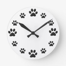 Paw Prints Round Clock